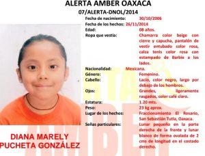 Se activa Alerta AMBER para localizar a DIANA MARELY PUCHETA GONZÁLEZ de 8 años de edad
