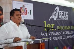 Trabajo legislativo demanda responsabilidad pero sobre todo cumplimiento de las obligaciones contraídas: Jefté Méndez