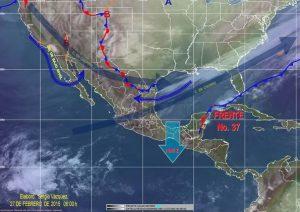 """Sistema Frontal  37, originará potencial de lluvias fuertes en Oaxaca, así como evento de """"Norte"""" en el Istmo y Golfo de Tehuantepec"""