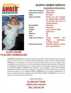 Se activa Alerta AMBER para localizar a ALDO DAHIR PLÁCIDO DOMÍNGUEZ, de 9 meses de edad