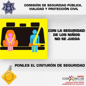 Emiten recomendaciones para proteger seguridad de niños viajando en auto