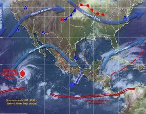 Canales de baja presión favorecerán potencial de tormentas fuertes en Oaxaca
