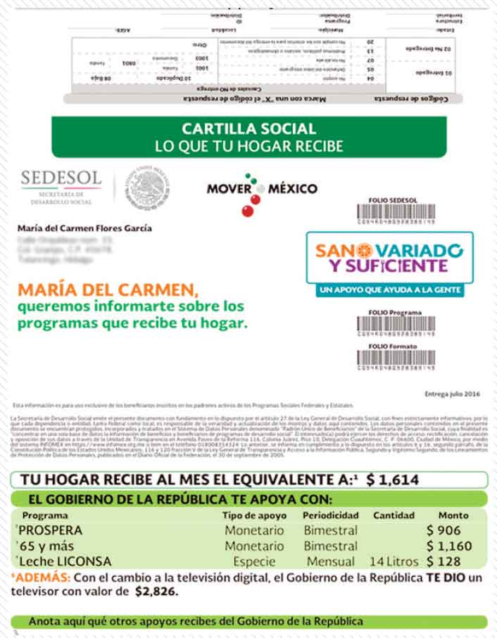 Pobres ya saben cuánto reciben; Sedesol distribuye 9.4 millones de cartillas sociales