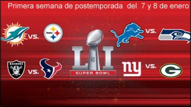 Definidos juegos para la primera semana de postemporada en la NFL