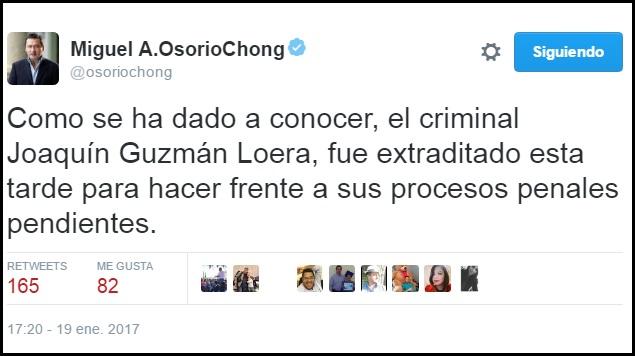 """Guzmán Loera fue extraditado """"para hacer frente a procesos penales: Osorio"""