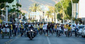 Con caravana ciclista PRD protesta contra el gasolinazo.