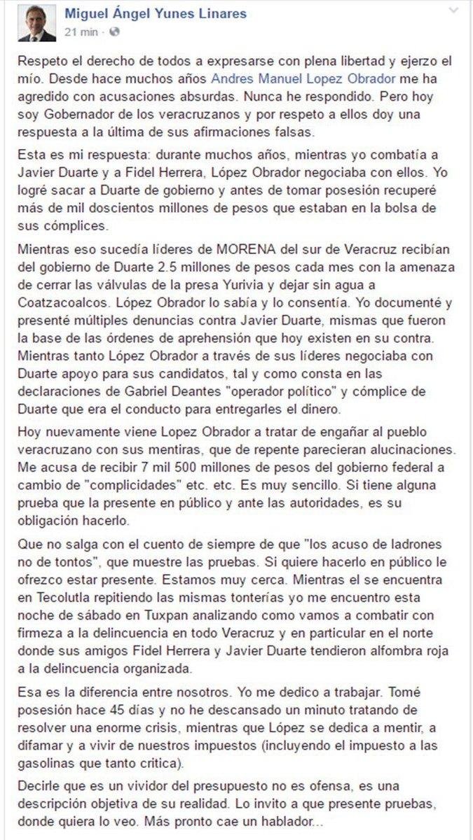 Carta de Miguel Ángel Yunes a López Obrador