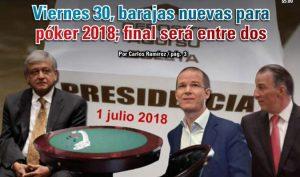 Viernes 30, barajas nuevas para póker 2018; final será entre dos: Carlos Ramírez