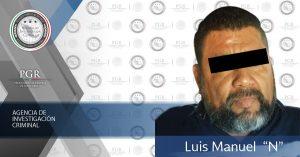 """PGR asegura a Luis Manuel """"N""""; cuenta con orden de aprehensión por su probable responsabilidad en el delito de homicidio"""