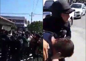 Policía municipal de Salina Cruz  y edil reprimen a trabajadores del Ayuntamiento que exigian su quincena