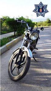 Recupera Policía Estatal una motocicleta con reporte de robo