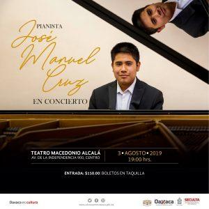 Impulsa Seculta al joven pianista José Manuel Cruz en su concierto