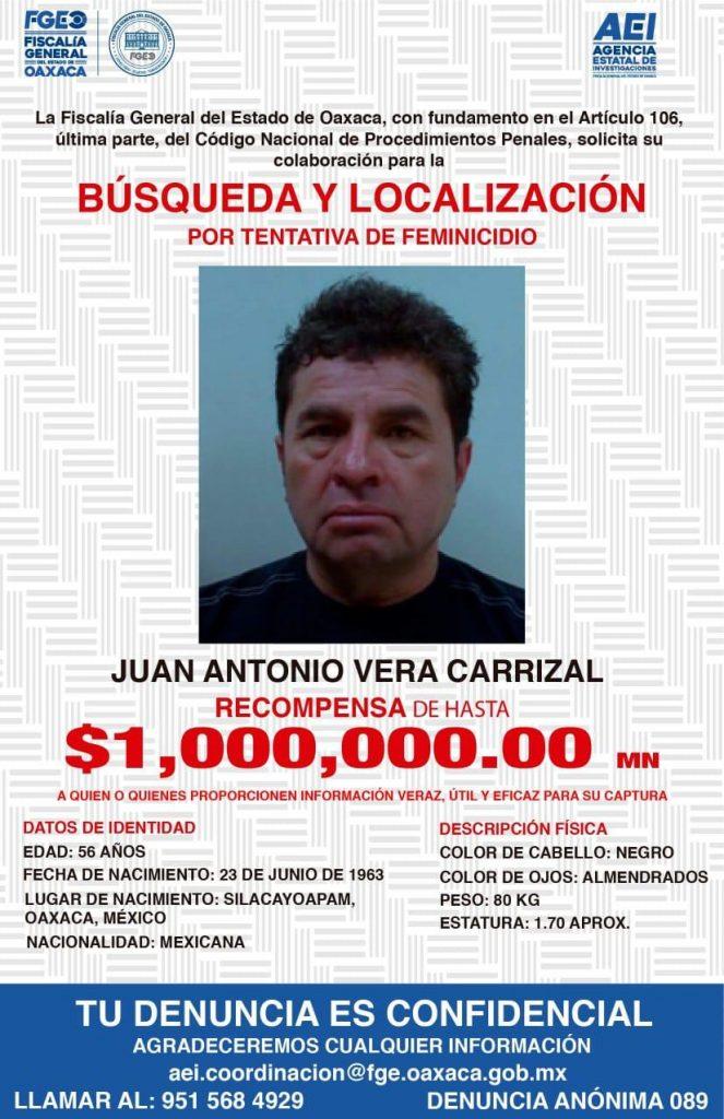 Recompensa de 1 mdp por Vera Carrizal ofrece Fiscalía del Estado